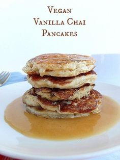 #ad Vegan vanilla chai pancakes made with Silk Non-Dairy Yogurt Alternative. So good!