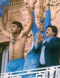 Who can forget the shirt waving act in the balcony of Lords? For more such pictures click http://mocricket.com/