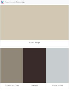 Grant Beige: Equestrian Gray, Wenge, White Water Grant Beige Benjamin Moore, Benjamin Moore Paint, Living Room Redo, Home Living Room, Living Room Designs, Beige Paint Colors, Beige Color Palette, House Color Palettes, Paint Color Palettes