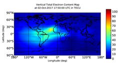 RT IONOSPHERIC GLOBAL MAPS of Total Electron Content (TEC) are produced by mapping GPS observables collected from ground stations. These maps are produced to test RT data acquisition, monitoring facilities, & mapping techniques. These maps are also used to monitor Ionospheric weather, & to nowcast Ionospheric storms that often occur responding to activities in solar wind, Earth's Magnetosphere, & Thermosphere. [ FILED BY MR. TRONA -- FLICKR.COM/PHOTOS/TRONA ]