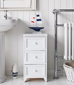 Maine 3 Drawer Bathroom Cabinet From White Cottage Living Furniture