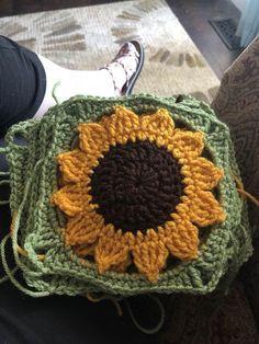 r/crochet - WIP-Sunflower blanket! Crochet Flower Patterns, Afghan Crochet Patterns, Crochet Squares, Crochet Flowers, Crochet Stitches, Crochet Sunflower, Sunflower Pattern, Crochet Cross, Crochet Mandala