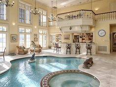 Zillow indoor pools in houses, indoor swimming pools, pool houses, lu Indoor Swimming Pools, Swimming Pool Designs, Lap Swimming, Piscina Interior, Luxury Pools, Pool Houses, Dream Rooms, House Rooms, My Dream Home