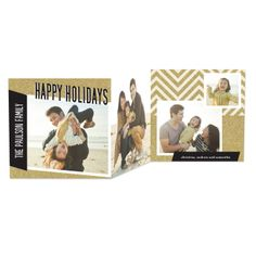 Add a touch of glitz to your holiday greeting with this 'Zigzag Glitz' Tri-Fold black and gold holiday card. #Christmas
