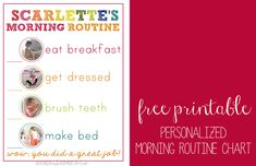 DIY Morning Routine Chart For Kids, Free Printable Personalized Morning Routine Chart