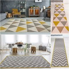 This contemporary patchwork rug in yellow ochre & grey is soft yet hardwearing with a stain-resistant finish. Condition: New. Living Room Rugs Uk, Living Room Grey, Living Room Decor, Caravan Upholstery, Cheap Carpet Runners, Interior Decorating, Interior Design, Beige Carpet, Geometric Rug