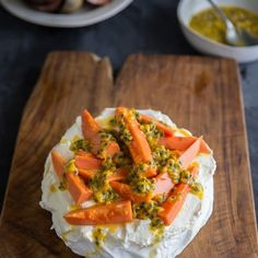 Pavlova can be enjoyed year round. Simply vary the fruit according to the season. Pavlova, Allrecipes, Thai Red Curry, Canning, Fruit, Puddings, Sweet, Ethnic Recipes, Desserts