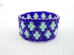 Beadwork Peyote Ring in Blue Green Beaded Seed Bead Delica - size 7.1/2
