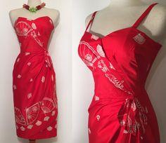 RESERVED Gorgeous 1950s Hawaiian Tiki Sarong Dress by GoodToSoul