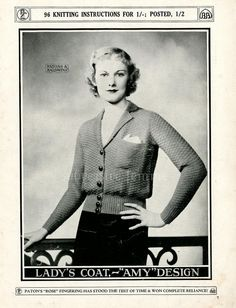Patons N°33 - page 7 / Lady's coat Amy / free knitting vintage pattern 1930s / https://www.flickr.com/photos/9595084@N02/sets/72157627228421146/