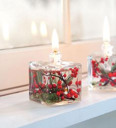 """GOOD IDEA--UPCYCLE BEAUTIFUL OLD PERFUME BOTTLES.....    Red Berries Cube Oil Candle  • Lifetime fiberglass wick  • Smokeless, odorless liquid paraffin  • Won't fade  Size  3-1/4""""H x 2-1/4""""W"""