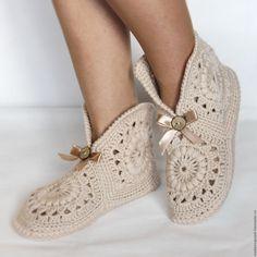 "Buy Crochet designer costume ""K … – Sweet Varieties Crochet Boots Pattern, Crochet Motif Patterns, Knitted Slippers, Crochet Slippers, Crochet Yarn, Crochet Stitches, Crochet Leg Warmers, Crochet Woman, Crochet Videos"