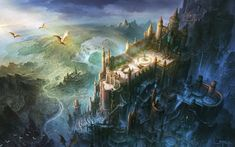 HD wallpaper: painting of castle, fantasy art, dragon, bird's eye view, architecture Fantasy City, Fantasy Castle, Fantasy Places, Fantasy Kunst, Fantasy World, Fantasy Art Landscapes, Fantasy Landscape, Games Design, Conceptual Drawing