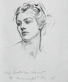 For the angels in Israel and the Law, Sargent conflated his studies taken from the bodies of male models with the head of this female model, Beatrice Stuart. It was not uncommon for the artist to write the name and address of the model on the drawing sheet, as seen here. 1. Beatrice Stuart Charcoal on paper, 62 x 47 cm Fogg Art Museum, Harvard University*