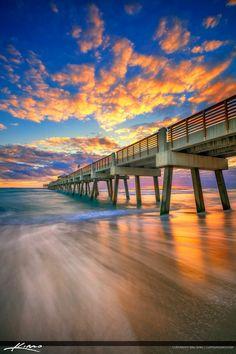 Juno Beach Pier Sunrise Vertical Rich Wave Flow
