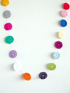 #Crochet garland like this can look cute hanging from a doorway or around a room like a wallpaper edging. Grab your hook, thinking cap and let's go!