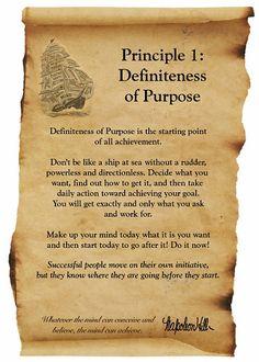 Napoleon Hill Foundation Success Principle #1 Definiteness of Purpose
