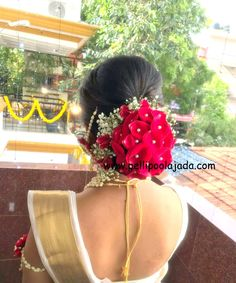 Full floral hair bun with roses. Order Fresh flower poolajada, bridal accessories from our local branches present over SouthIndia, Mumbai, Delhi, Singapore and USA. Bridal Hairstyle Indian Wedding, Bridal Hair Buns, Wedding Bun Hairstyles, Bridal Hairdo, Indian Bridal Hairstyles, Wedding Hair And Makeup, Bridal Makeup, Flower Hair Accessories, Bridal Accessories