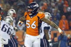 Denver Broncos linebacker Shane Ray (56) celebrates during the second half of an NFL football game against the New England Patriots, Sunday, Nov. 29, 2015, in Denver. The Broncos defeated the Patriots 30-24. (3025×2019)