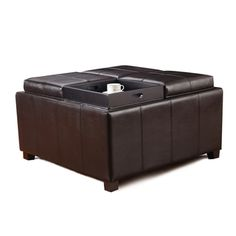Adeco Brown Bonded Leather Square Storage Ottoman with 4 Serving Trays - Overstock™ Shopping - Great Deals on Ottomans