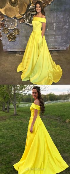 Yellow Prom Dresses, Long Prom Dresses, 2018 Prom Dresses For Teens, Princess Prom Dresses Off-the-shoulder, Satin Prom Dresses Pockets #longpromdresses #millybridal