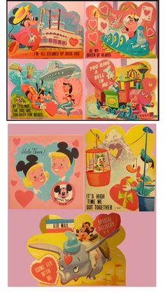 """All of these vintage Disneyland Valentines are the cutest 💘"" My Funny Valentine, Disney Valentines, Vintage Valentines, Old Disney, Cute Disney, Disney Dream, Disney Magic, Disney Style, Disney Parks"