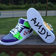 Air Jordan Retro 1 'Toy Story' Customs by Uniedits Custom Vans Shoes, Custom Painted Shoes, Jordan Shoes Girls, Girls Shoes, Best Sneakers, Sneakers Fashion, Nike Shoes Air Force, Aesthetic Shoes, Hype Shoes