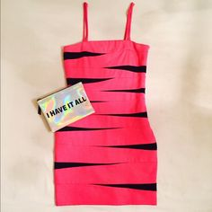 Pink & Black Body Con Dress Hot pink and black body con dress. Side zip and clasp closure with removable adjustable straps. Only worn once. INC International Concepts Dresses