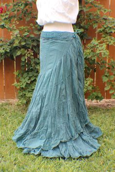 Teal tiered crinkle wrap skirt with crochet by WildPlumBoutique