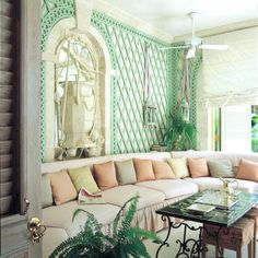 i'm so into this mint green trellis wall / nicky haslam barbados sunroom