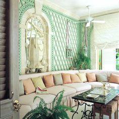 i'm so into this mint green trellis wall / nicky haslam barbados sunroom