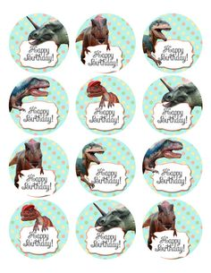 Dinosaur Birthday Party Cupcake or Cookie Topper by Melinda Bryant Photo on Etsy.  Click on the photo to shop for these, and many other dinosaur themed party decorations and invitations.   ###   girl dinosaur party, polkadots, party ideas, dinosaur party, childrens birthday decor, party printables, etsy, dinosaur stickers, cupcake fun, celebrate