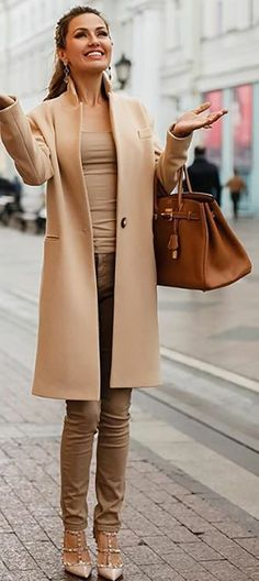 Try a monochrome camel-colored outfit this winter. Let DailyDressMe help you find the perfect outfit for whatever the weather!