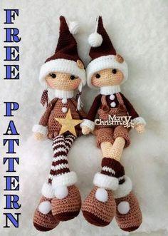 Crochet Christmas Decorations, Christmas Crochet Patterns, Holiday Crochet, Christmas Knitting, Crochet Doll Pattern, Crochet Patterns Amigurumi, Amigurumi Doll, Crochet Dolls, Crochet Free Patterns