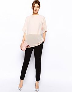 GIMME GIMME: SHEER CONTRAST BLUSH TOP - Le Fashion   THAT TOP.