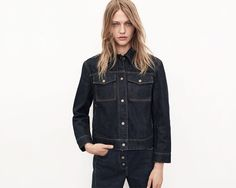 Sasha Pivovarova wears Denim Jacket and High-Waisted Button Jeans for 2016 Lookbook