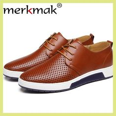 fe8b617f687fd Get Best Price Merkmak 2017 Hot Sale Men s Shoes Genuine Leather Holes  Design Breathable Shoes Spring Autumn Business Men Sapatos Masculinos