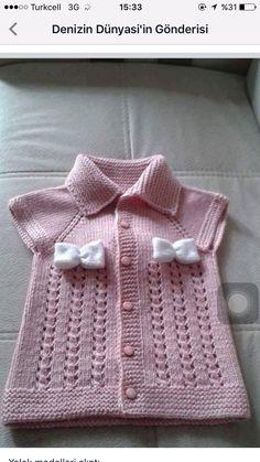 Girl's vest with pink knitted bow Örgü Modelleri Arm Knitting, Knitting For Kids, Crochet For Kids, Crochet Baby, Knit Crochet, Knitting Machine Patterns, Knit Patterns, Clothing Patterns, Knit Baby Sweaters