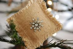 burlap ornament, whip stitch with big needle  glue on or sew on broken jewelry as Christmas ornaments