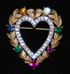 Vintage Trifari Goldtone Heart Dearest Pin- Decorated witH Crystal Rhinestones #Trifari