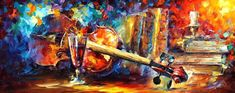 "Still Life - Old Thoughts — Violin And Wine Wall Art Oil Painting On Canvas By Leonid Afremov. Size: 40"" X 16"" Inches (100 cm x 40 cm)"