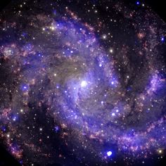 """This is NGC 6946, a medium-sized spiral galaxy located 22 million light years from Earth. It got its nickname, """"The Fireworks Galaxy,"""" because eight supernovas have been observed exploding inside it."""