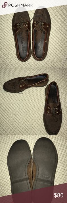 Sperry's brown leather boat shoes Sperry's Top Sider boat shoes. Brown leather. Men's Size 11. Non-marking rubber soles. Gently used no major signs of wear Sperry Top-Sider Shoes Boat Shoes