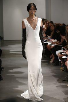 Vera Wang Bridal 2014, deep v neck sleek wedding gown with black leather gloves