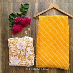 Mango Yellow Leheriya Saree with Crochet Lace Blouse Trendy Sarees, Stylish Sarees, Fancy Sarees, Pure Georgette Sarees, Chiffon Saree, Fancy Blouse Designs, Sari Blouse Designs, South Indian Bride Saree, Gota Patti Saree