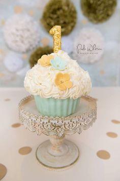 Oversized Cupcake, Mint green cake, flower cake, gold cake, smash cake
