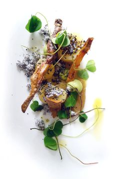 Vintage potatoes in onion ashes , lovage and wood sorrel