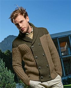Bergere de France Mens Knitting Patterns Double Breasted Shawl Collar Cardigan Pattern   - made in just one color?