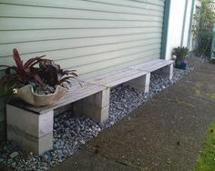 So easy and i'm assuming pretty cheap--  concrete block benches