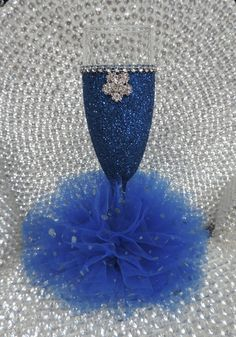 Royal Blue Glitter Wine Flute with Tulle Skirt by LuxxCouture